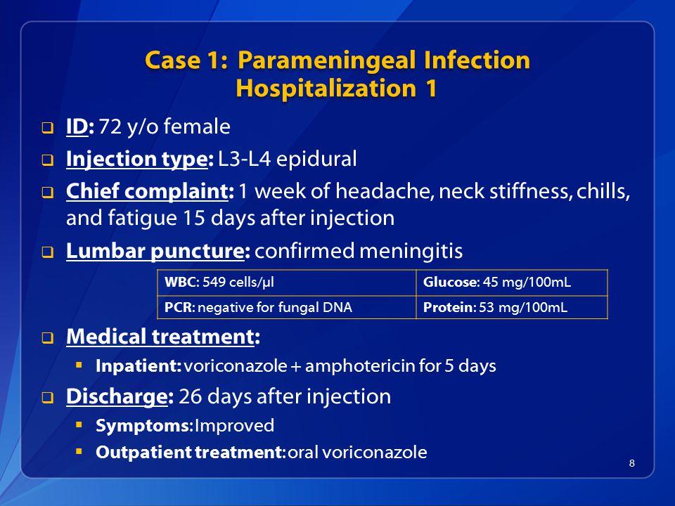 Case 1: Parameningeal Infection Hospitalization 1