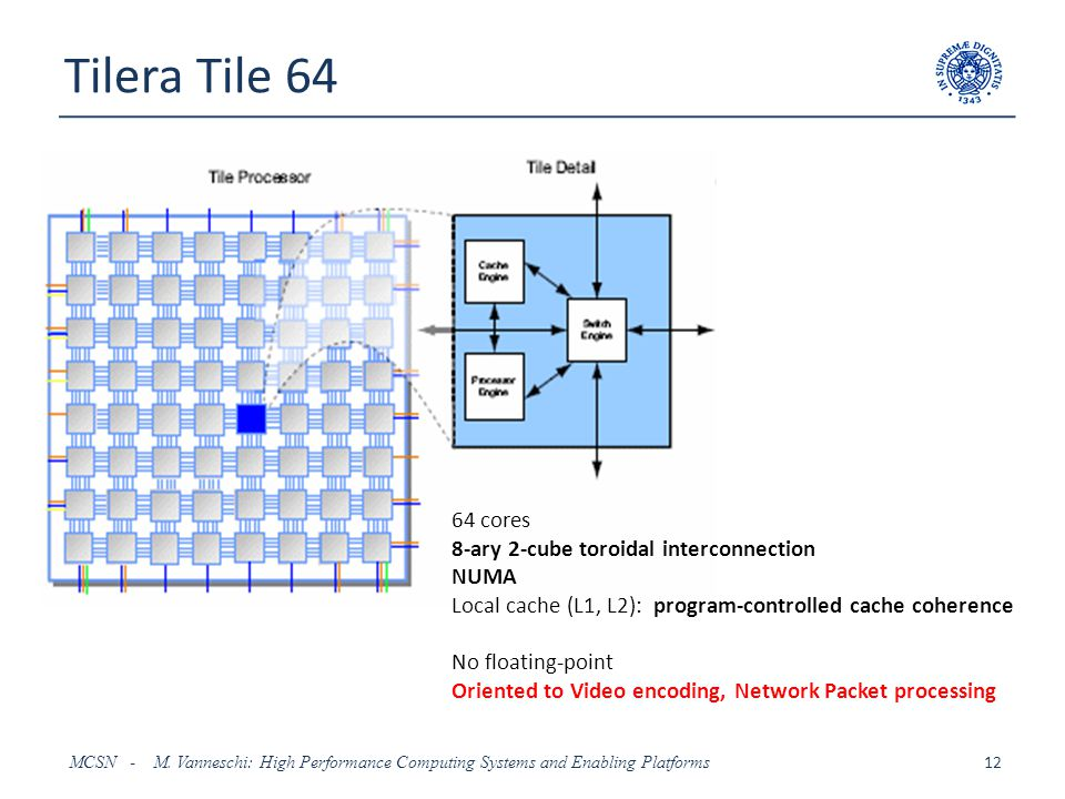 Tilera Tile 64 64 cores 8-ary 2-cube toroidal interconnection NUMA