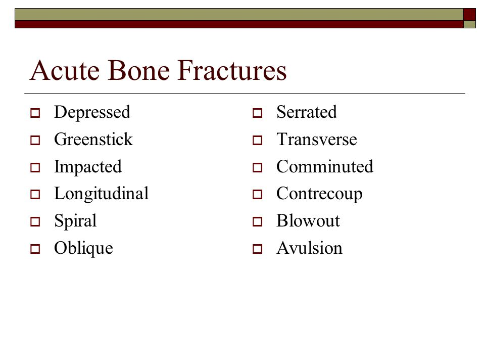 Acute Bone Fractures Depressed Greenstick Impacted Longitudinal Spiral
