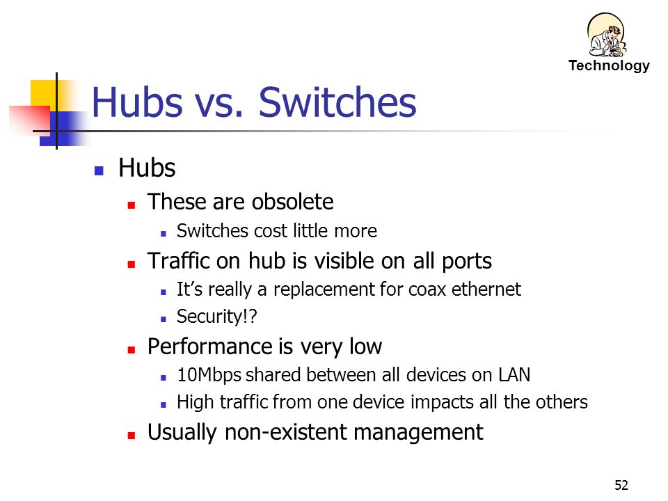Hubs vs. Switches Hubs These are obsolete