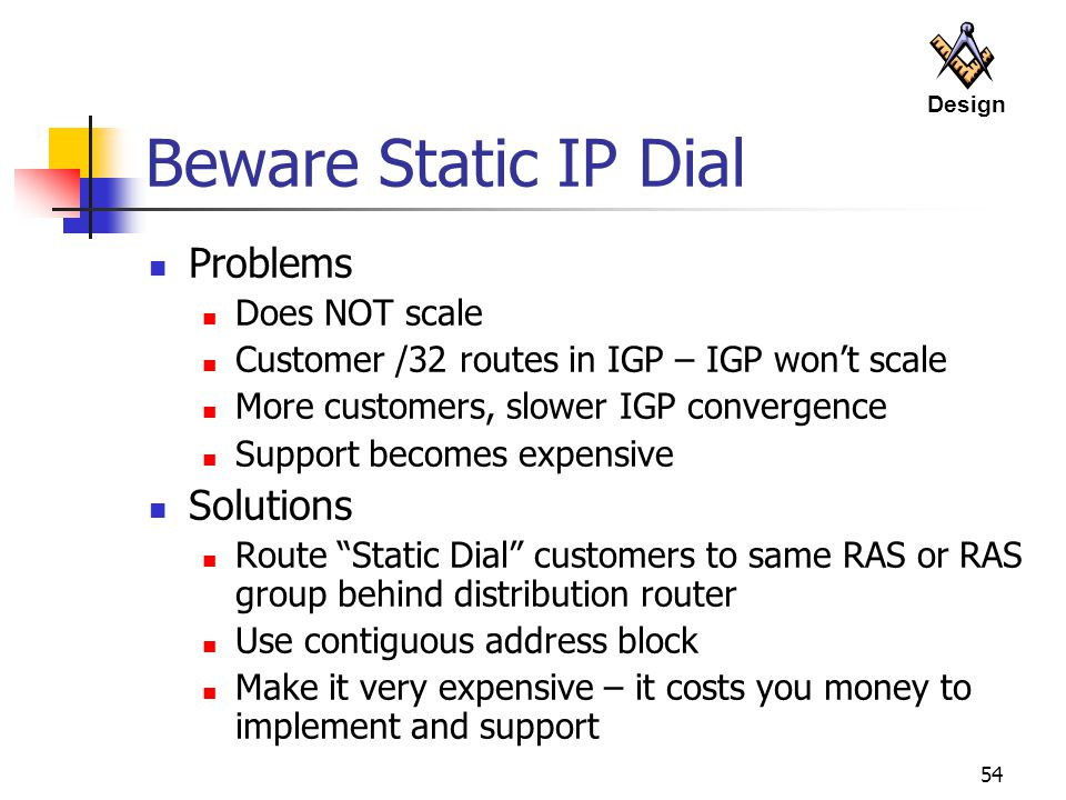 Beware Static IP Dial Problems Solutions Does NOT scale