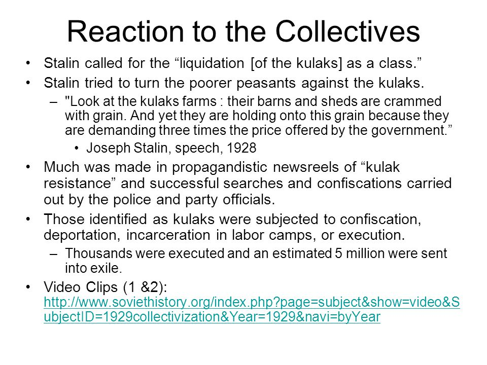 Reaction to the Collectives