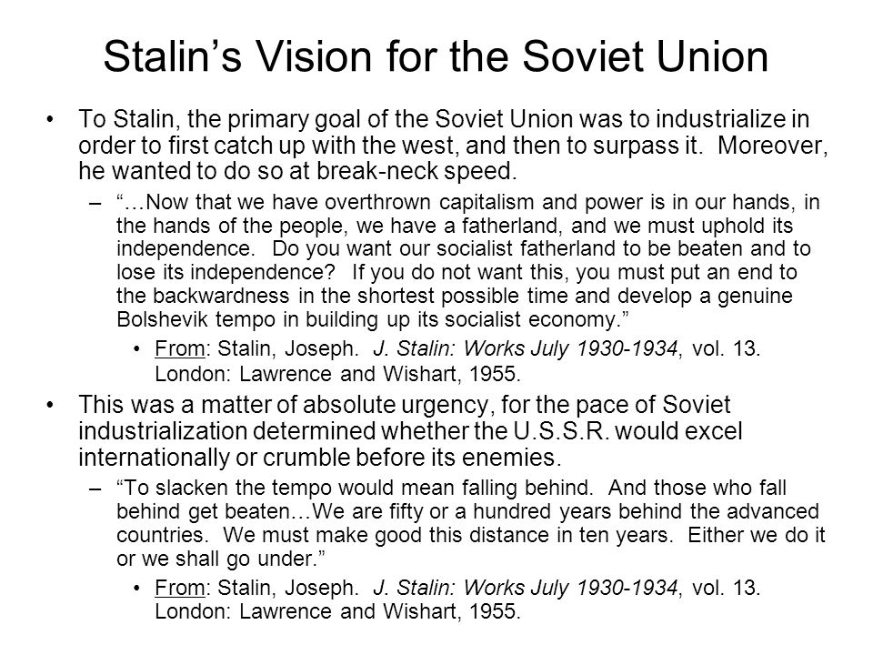 Stalin's Vision for the Soviet Union