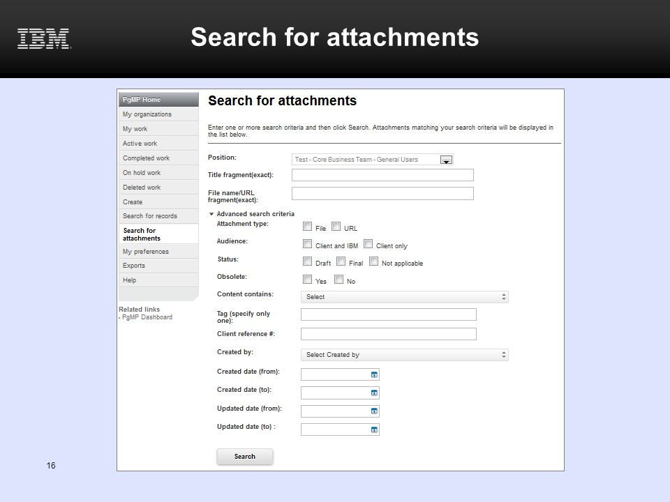 Search for attachments