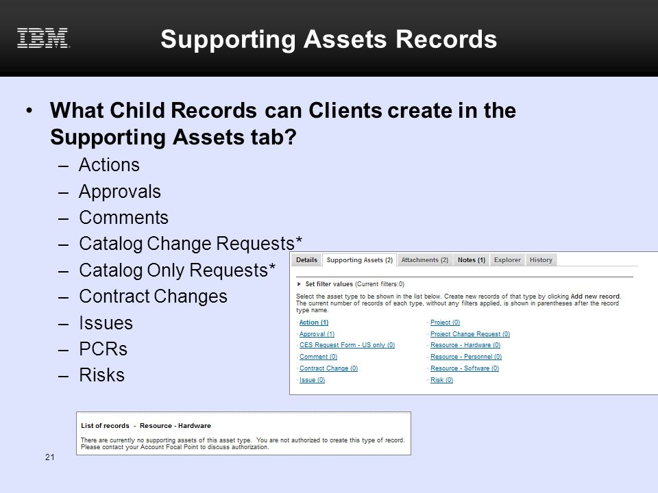 Supporting Assets Records