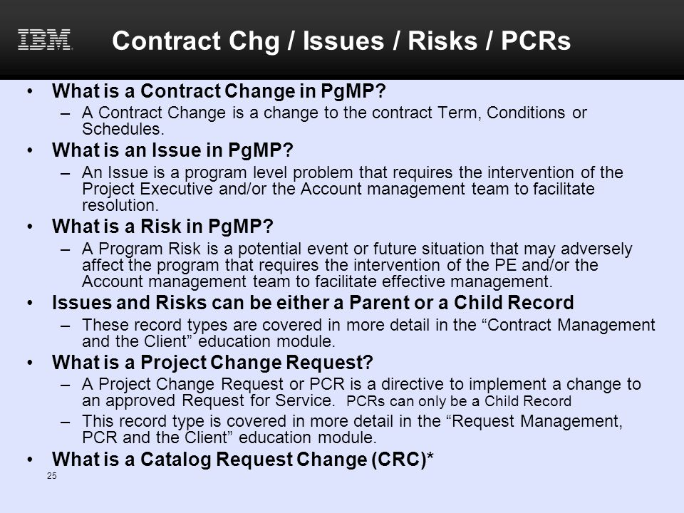 Contract Chg / Issues / Risks / PCRs