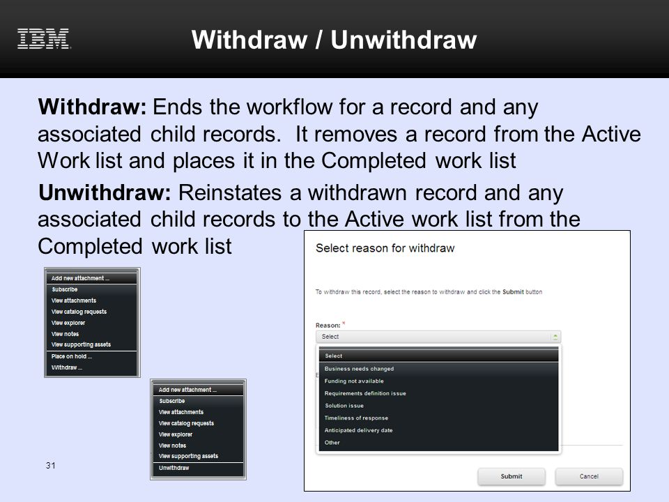 Withdraw / Unwithdraw