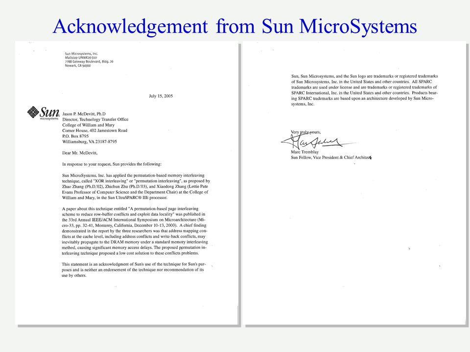 Acknowledgement from Sun MicroSystems