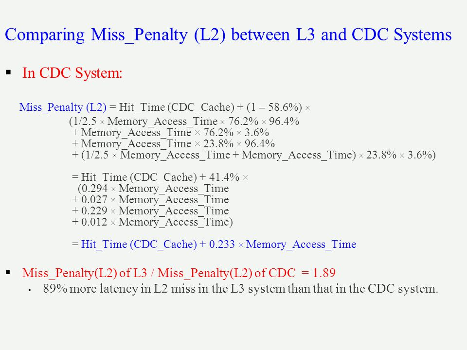 Comparing Miss_Penalty (L2) between L3 and CDC Systems