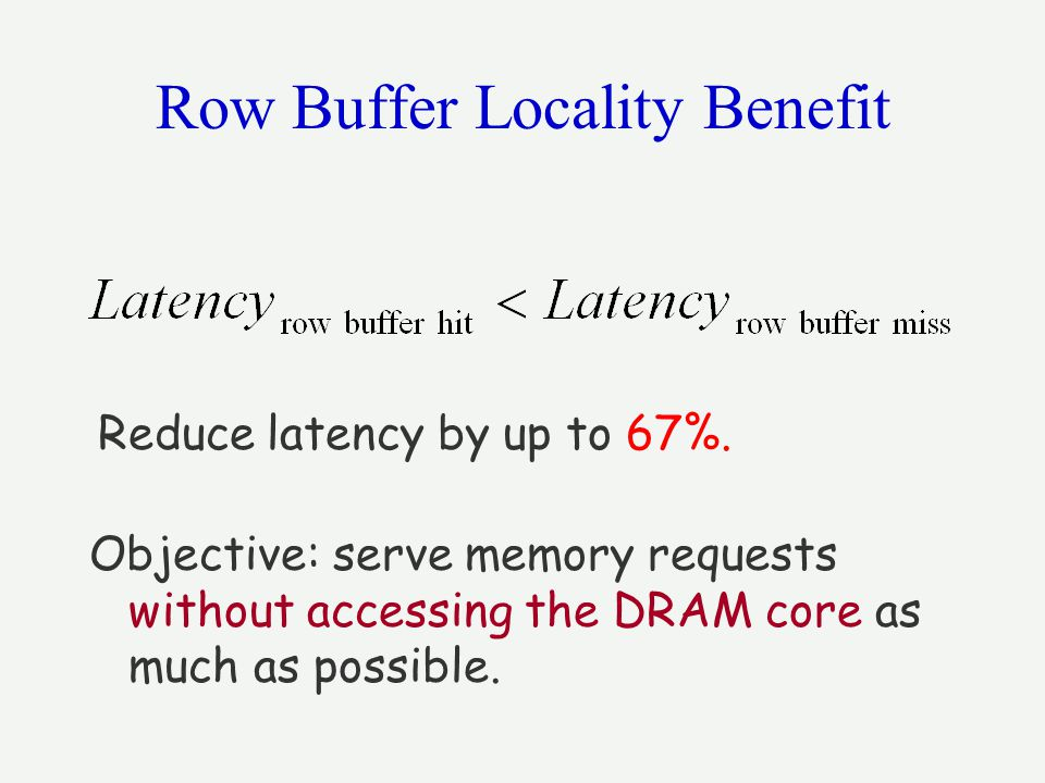 Row Buffer Locality Benefit