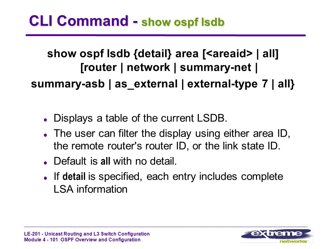 CLI Command - show ospf lsdb