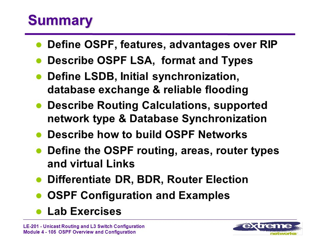 Summary Define OSPF, features, advantages over RIP