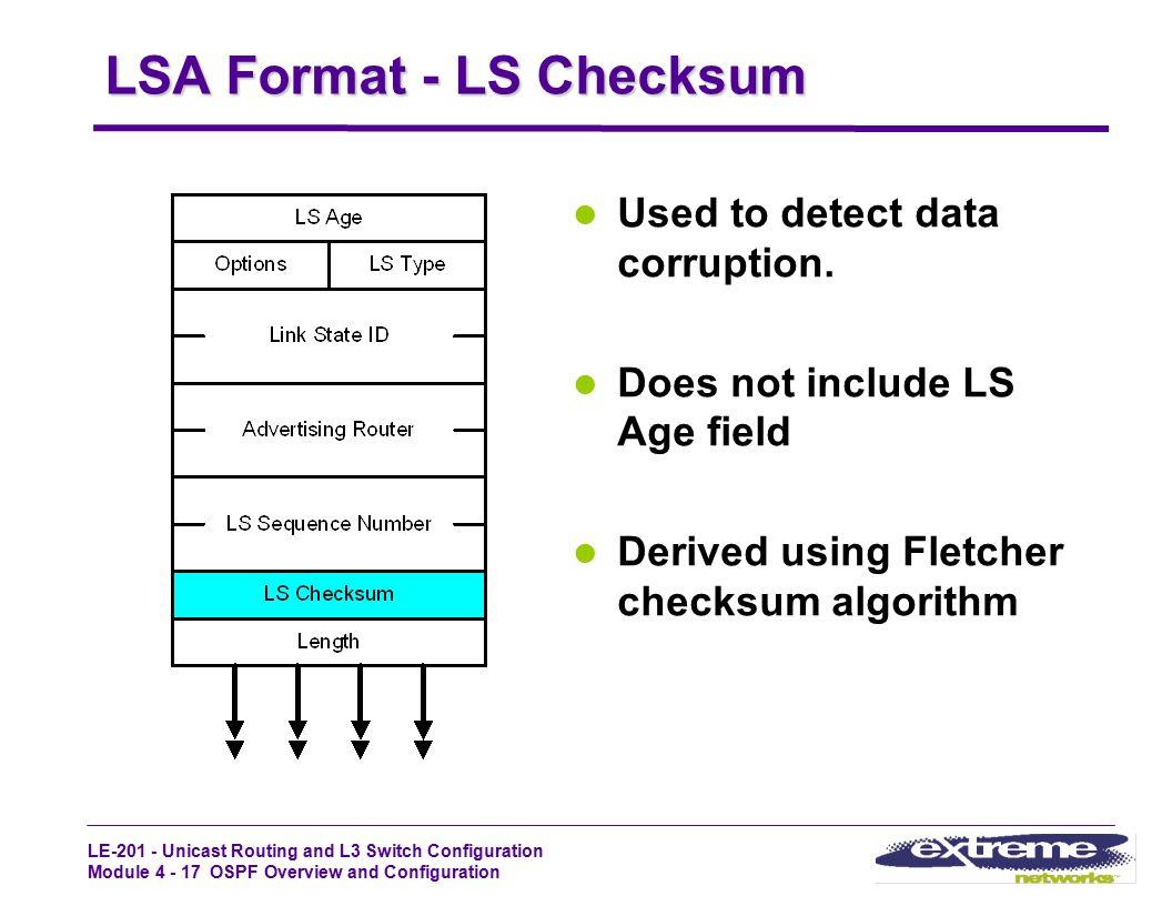 LSA Format - LS Checksum
