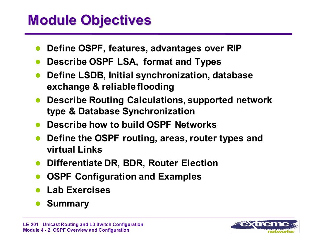 Module Objectives Define OSPF, features, advantages over RIP