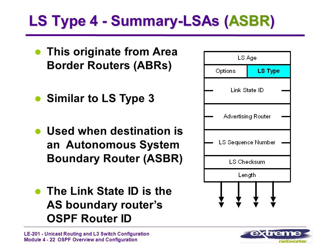 LS Type 4 - Summary-LSAs (ASBR)