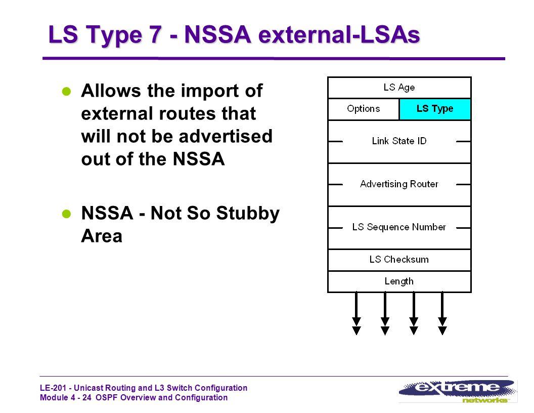 LS Type 7 - NSSA external-LSAs