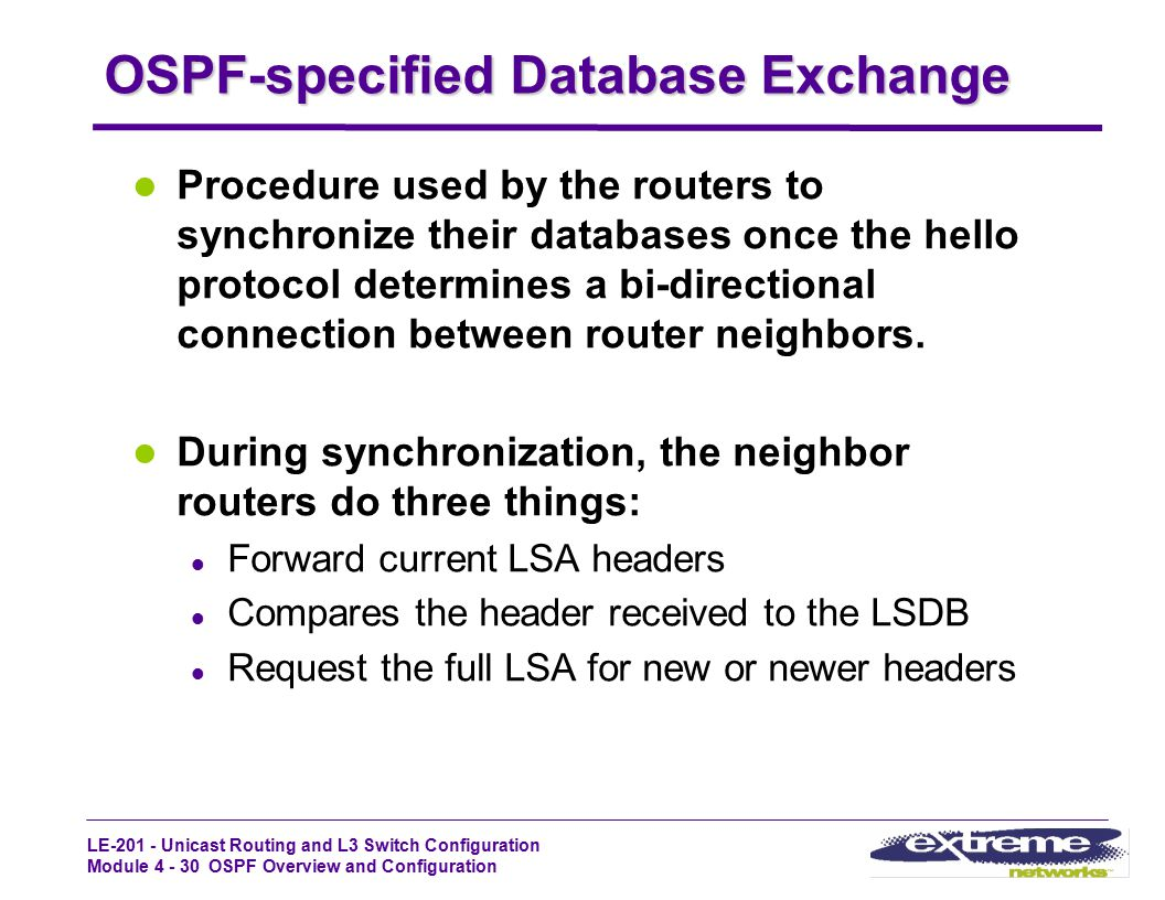 OSPF-specified Database Exchange