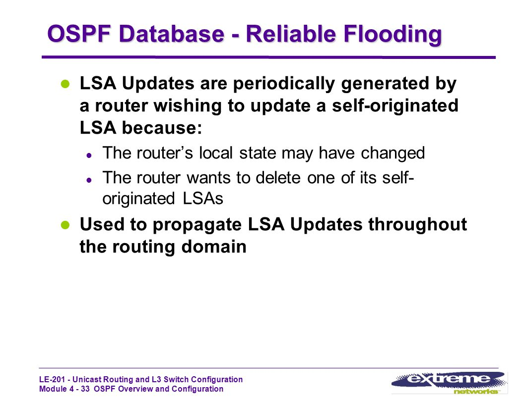 OSPF Database - Reliable Flooding