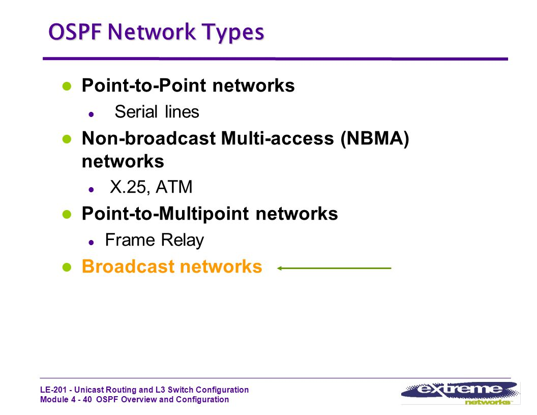 OSPF Network Types Point-to-Point networks