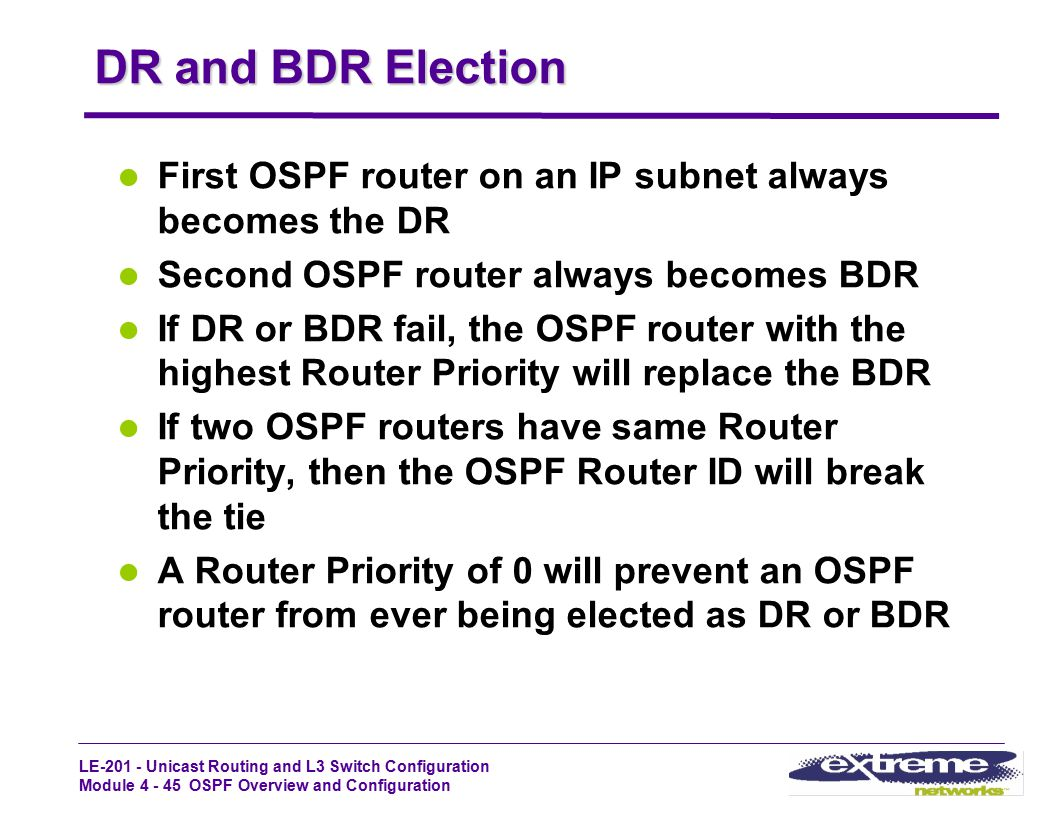 DR and BDR Election First OSPF router on an IP subnet always becomes the DR. Second OSPF router always becomes BDR.
