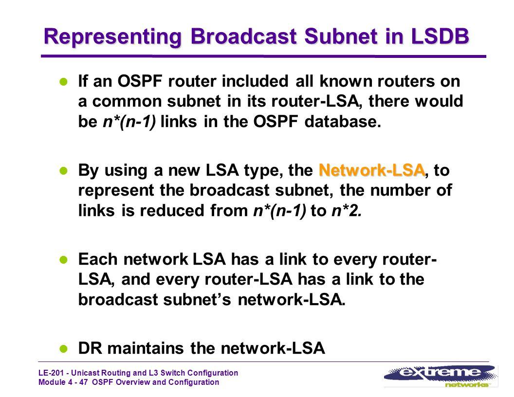 Representing Broadcast Subnet in LSDB