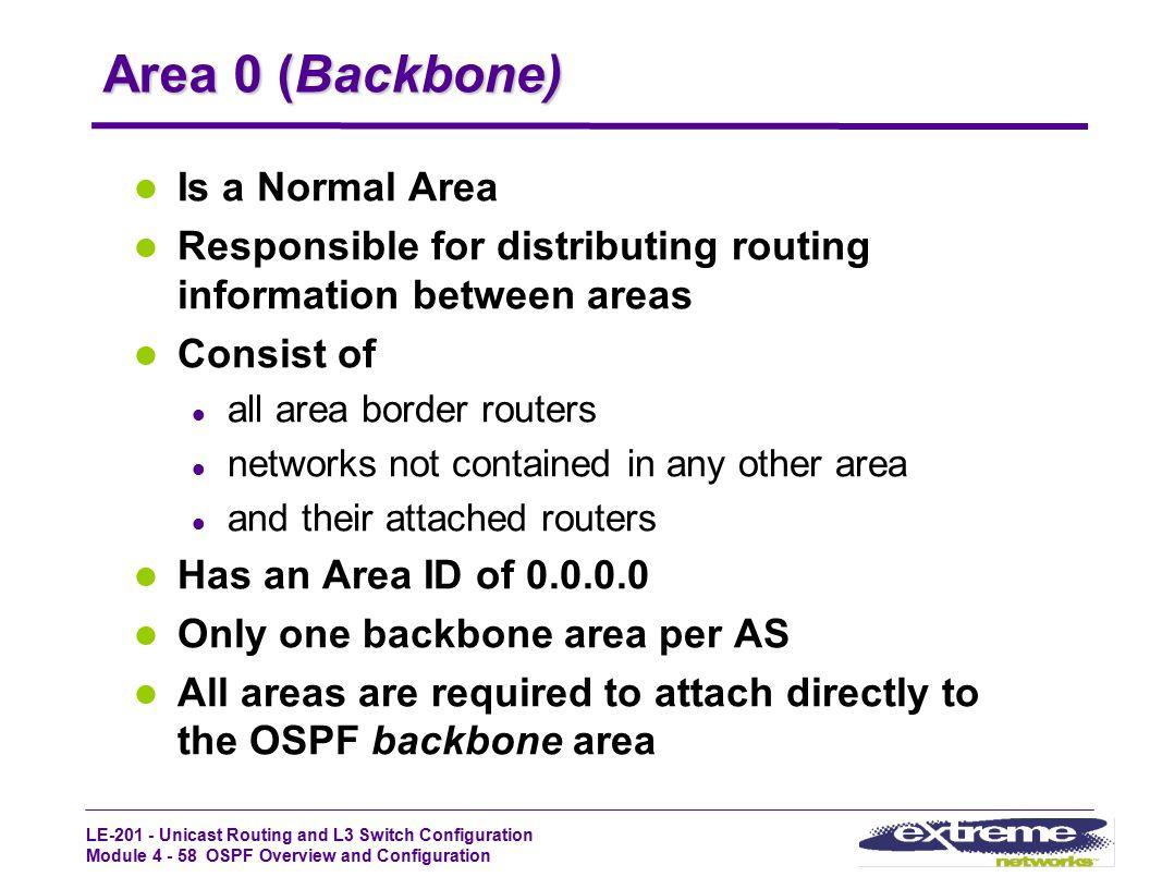 Area 0 (Backbone) Is a Normal Area