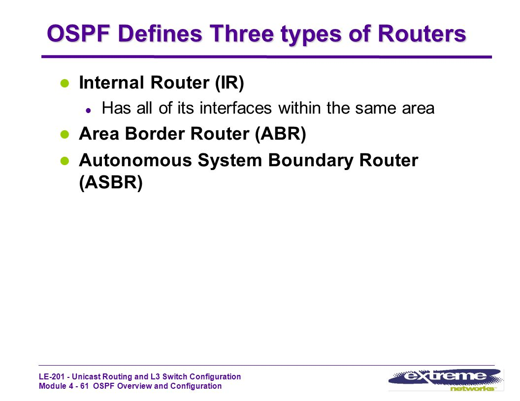 OSPF Defines Three types of Routers