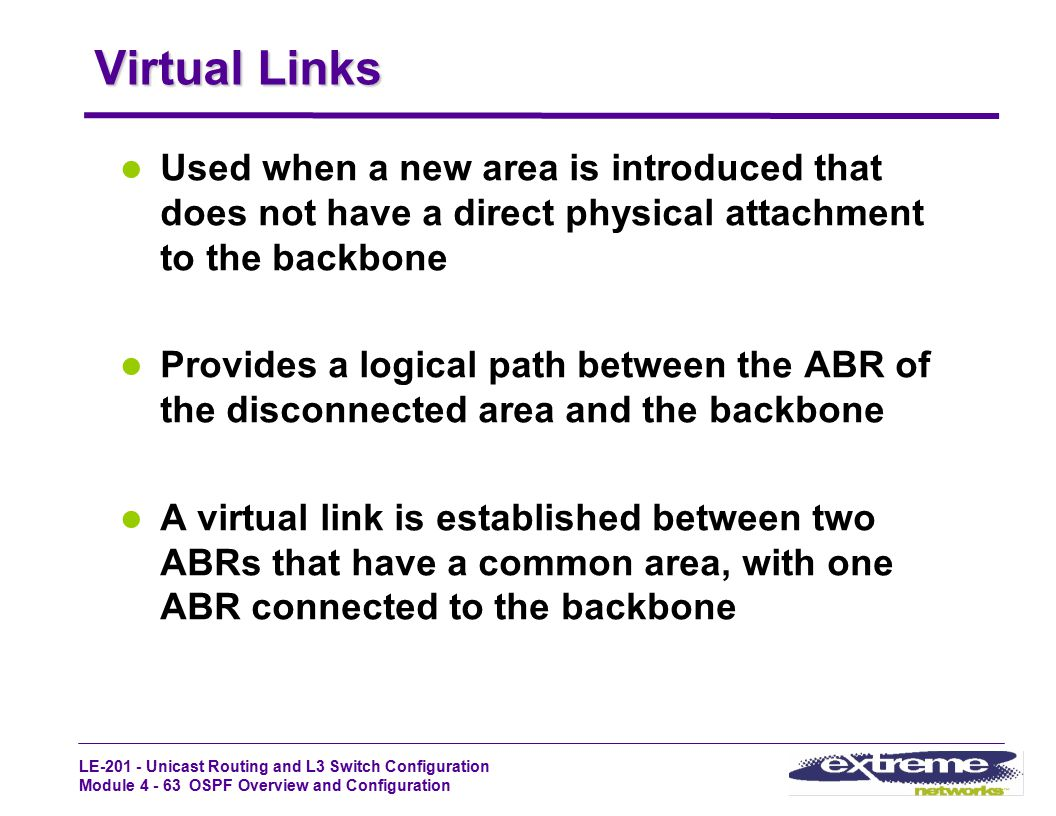 Virtual Links Used when a new area is introduced that does not have a direct physical attachment to the backbone.