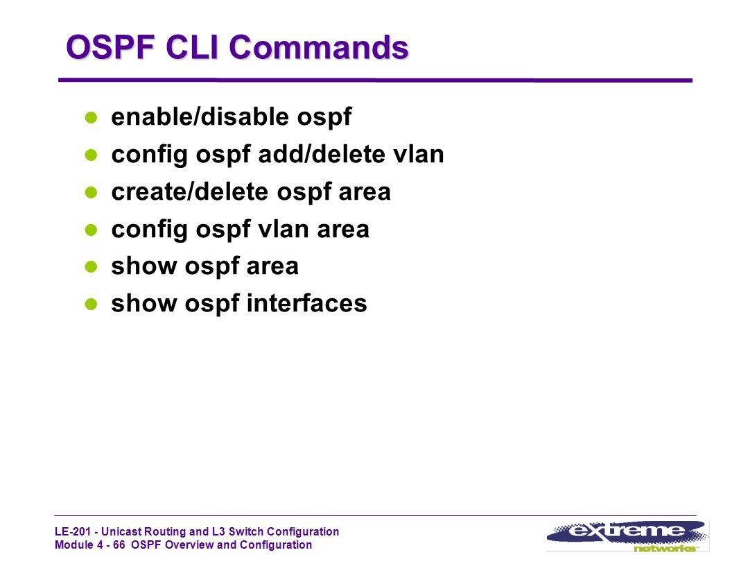 OSPF CLI Commands enable/disable ospf config ospf add/delete vlan