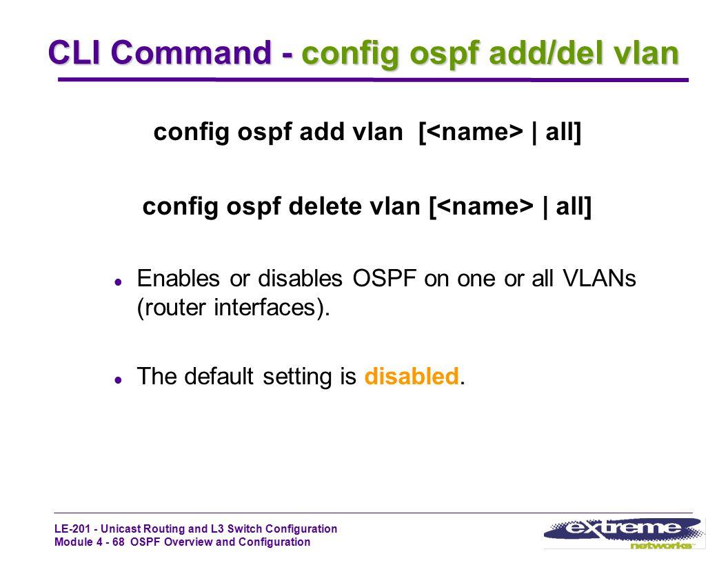 CLI Command - config ospf add/del vlan