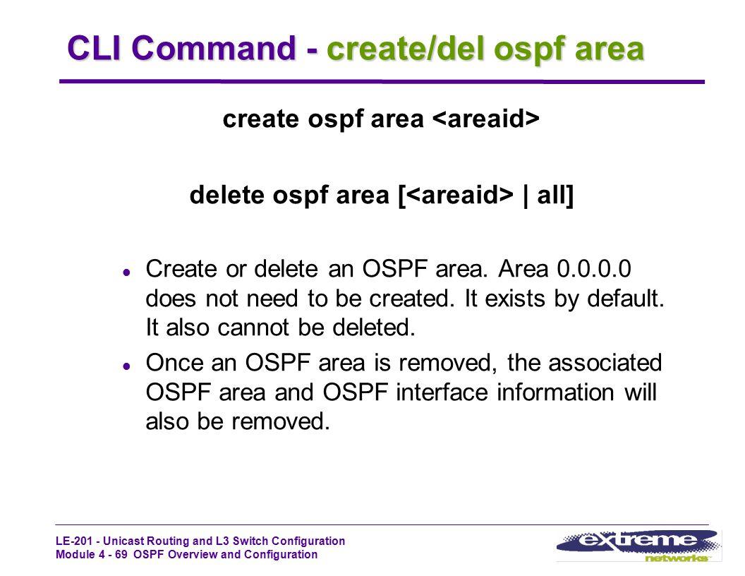 CLI Command - create/del ospf area