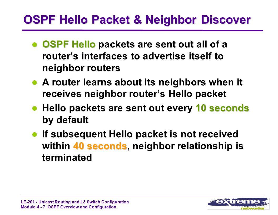 OSPF Hello Packet & Neighbor Discover