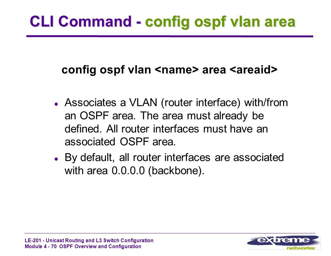 CLI Command - config ospf vlan area