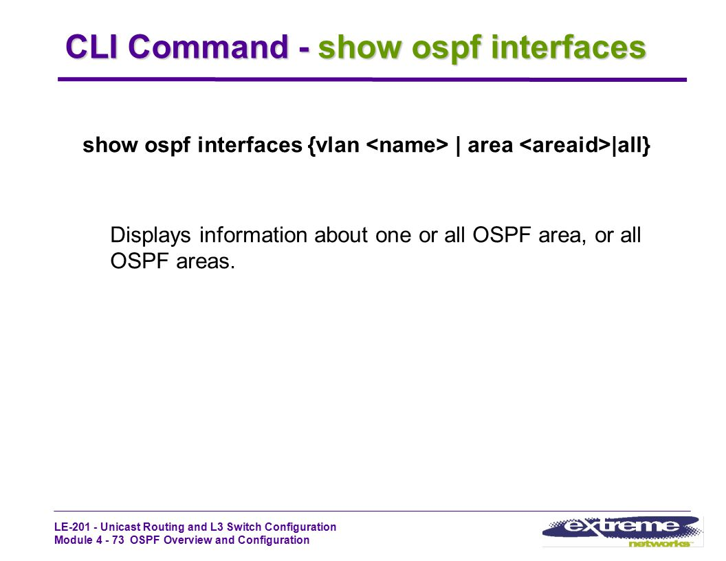 CLI Command - show ospf interfaces