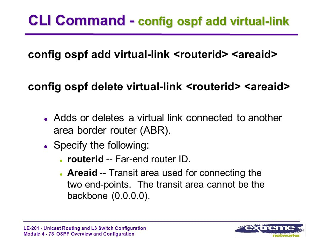CLI Command - config ospf add virtual-link