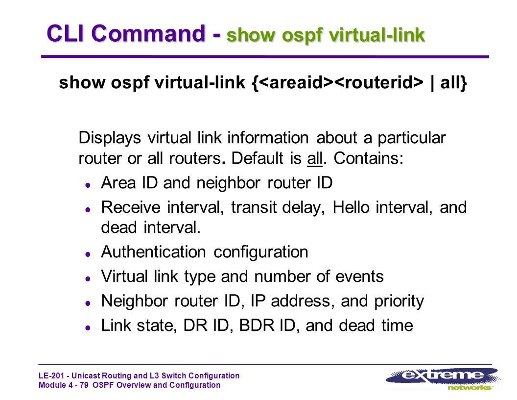 CLI Command - show ospf virtual-link