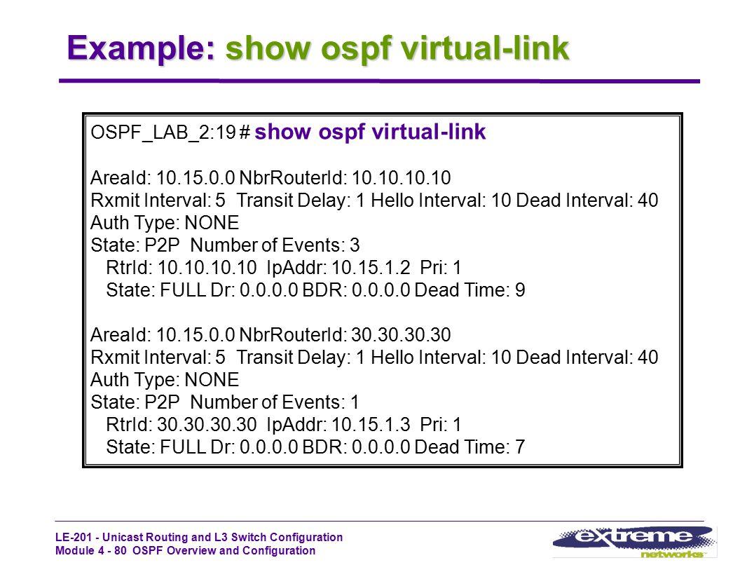 Example: show ospf virtual-link