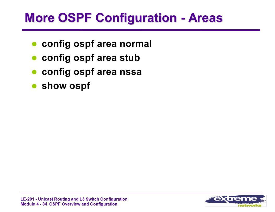 More OSPF Configuration - Areas