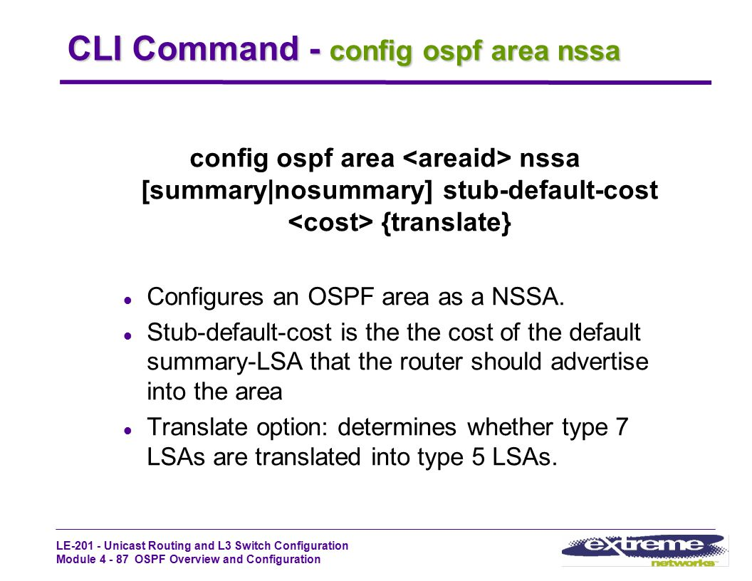 CLI Command - config ospf area nssa