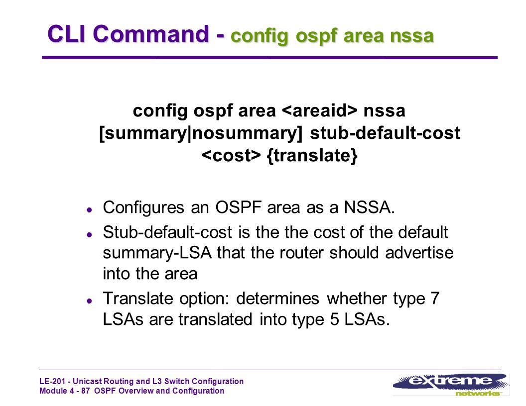 CLI Command - config ospf area nssa