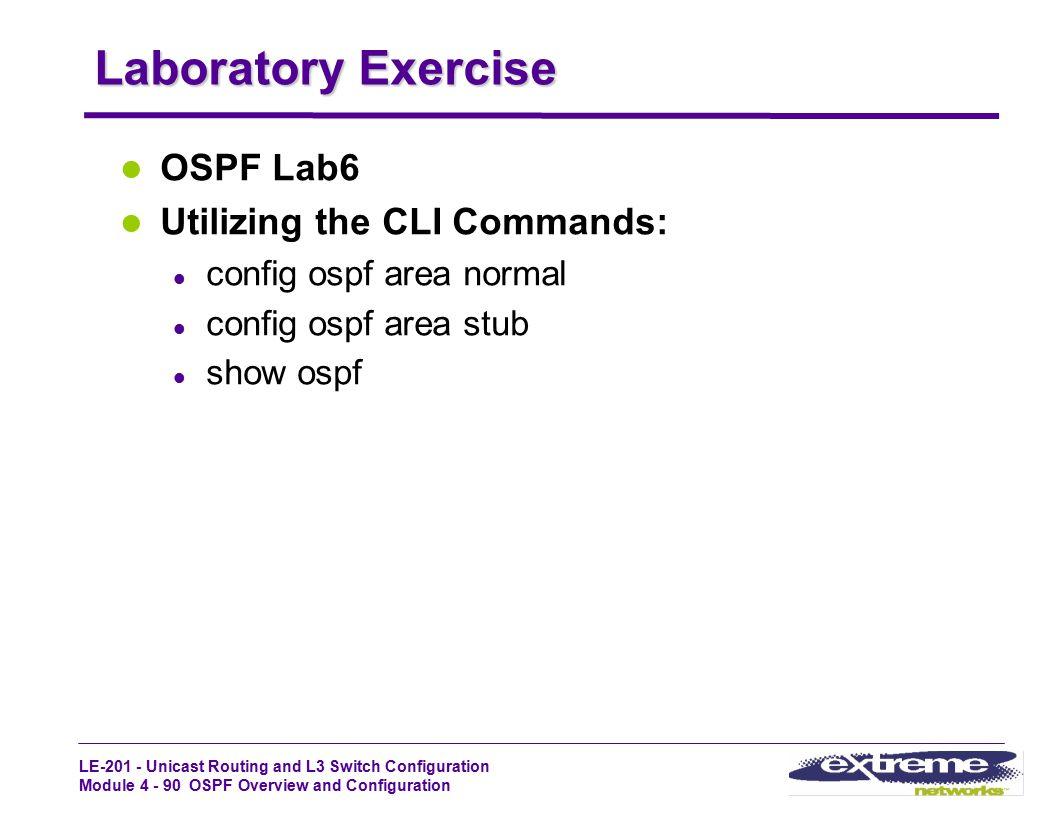 Laboratory Exercise OSPF Lab6 Utilizing the CLI Commands: