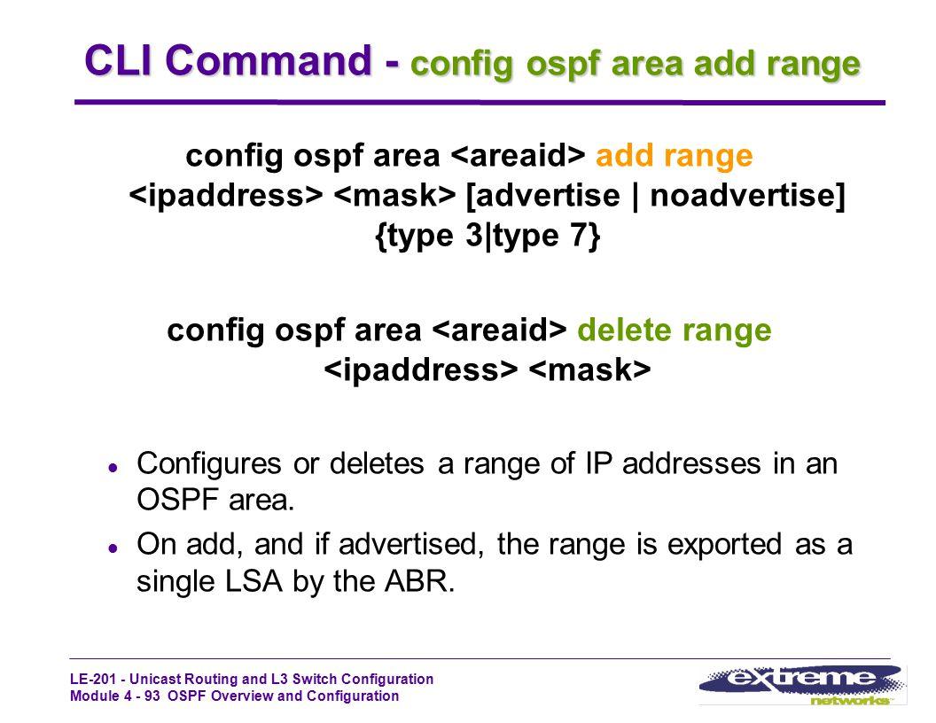CLI Command - config ospf area add range