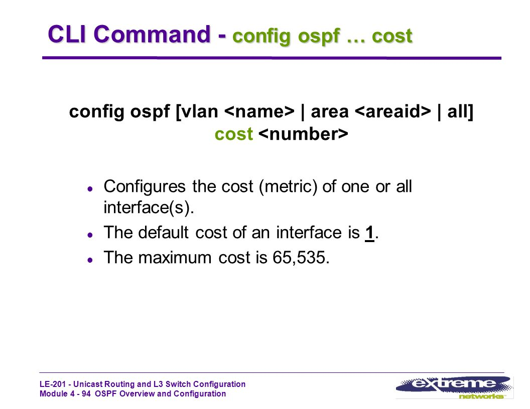 CLI Command - config ospf … cost