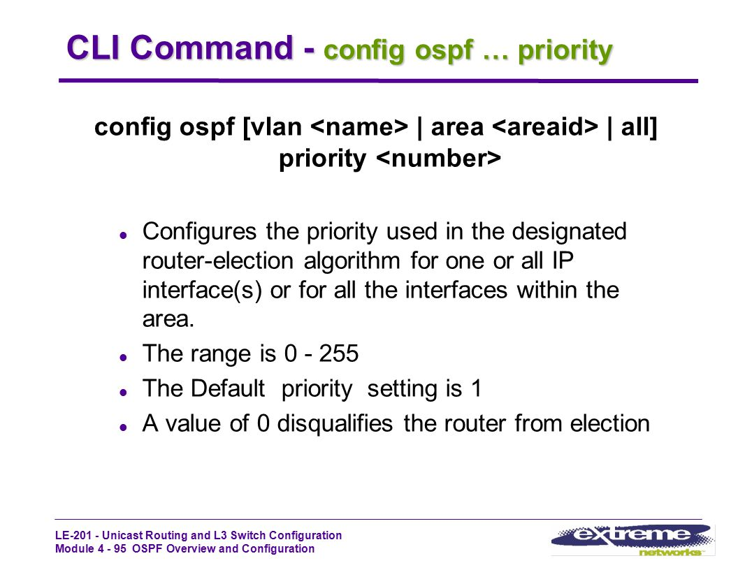 CLI Command - config ospf … priority