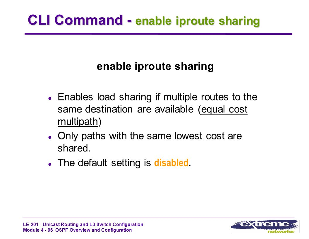CLI Command - enable iproute sharing