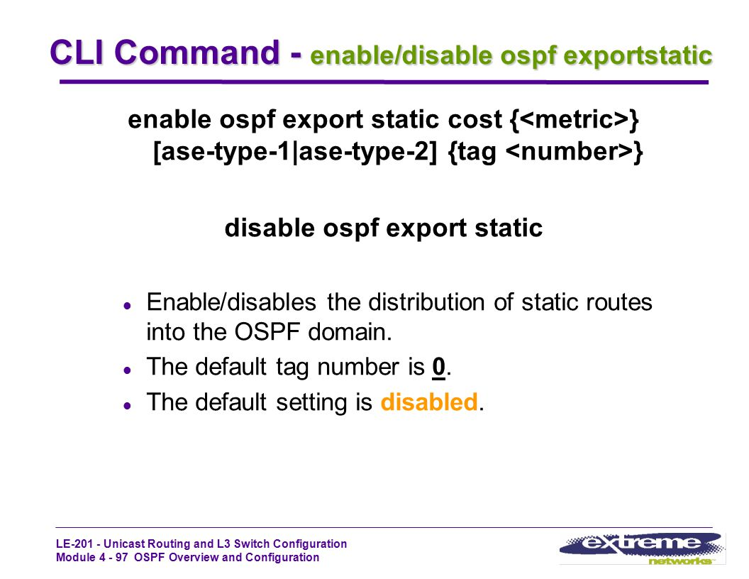 CLI Command - enable/disable ospf exportstatic