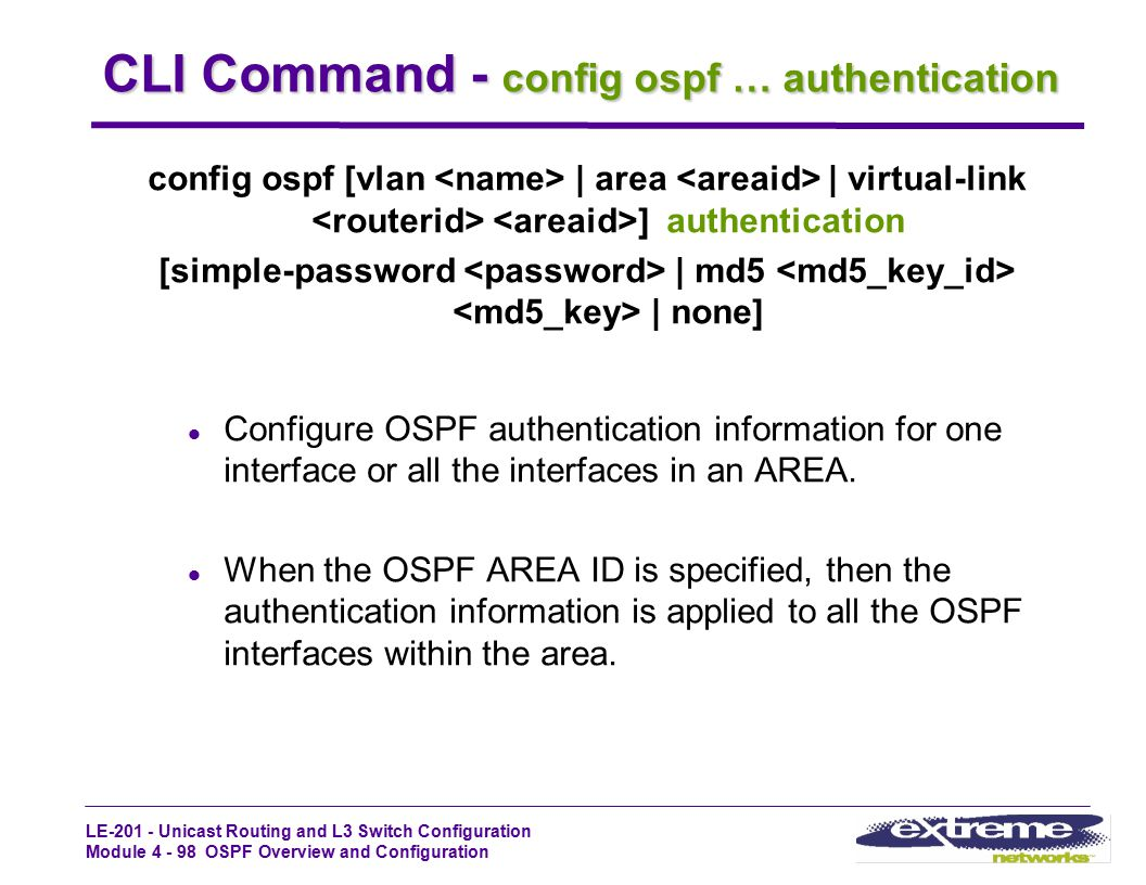CLI Command - config ospf … authentication