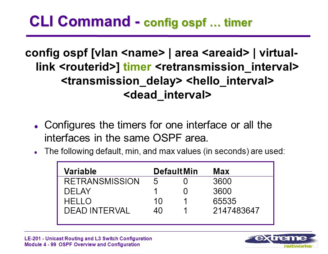 CLI Command - config ospf … timer