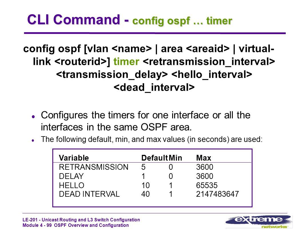 CLI Command - config ospf … timer