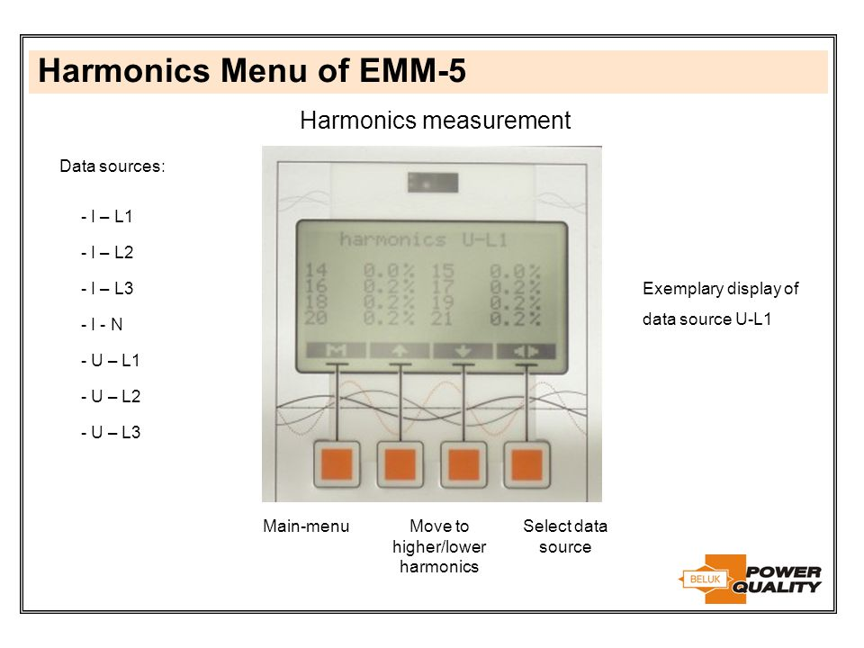 Harmonics Menu of EMM-5 Harmonics measurement Data sources: I – L1